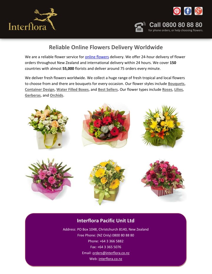 Ppt Reliable Online Flowers Delivery Worldwide Powerpoint