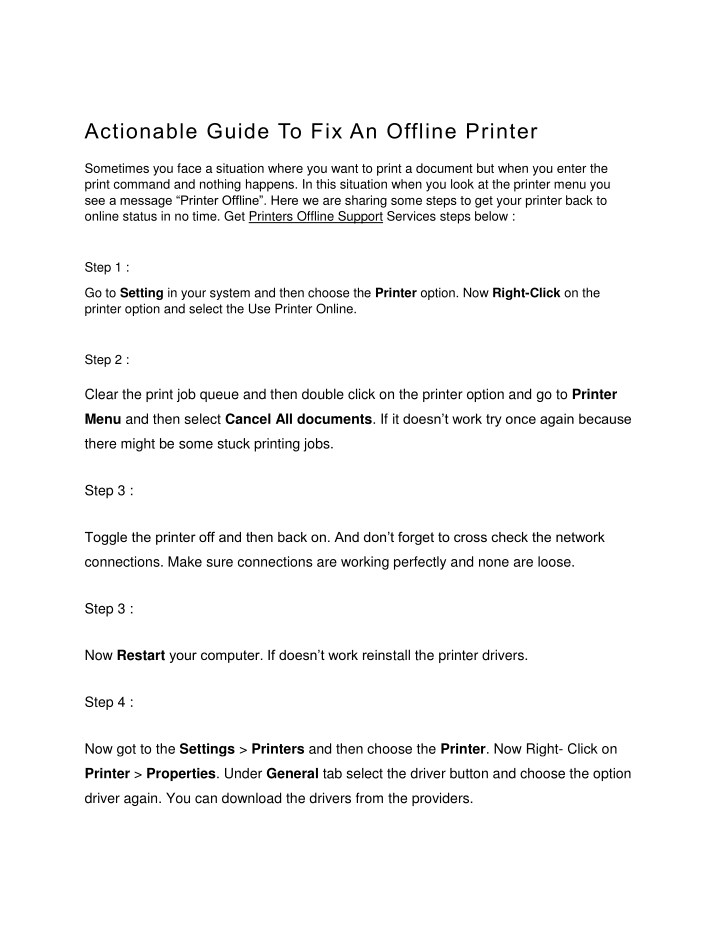 PPT - Actionable guide to fix an offline printer PowerPoint