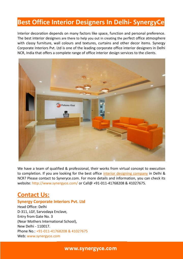 ppt office interior design synergy corporate interiors powerpoint