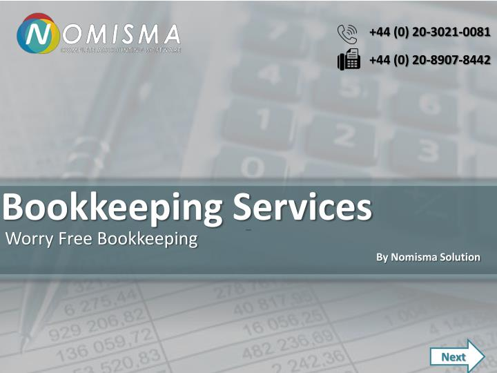 bookkeeping services n.