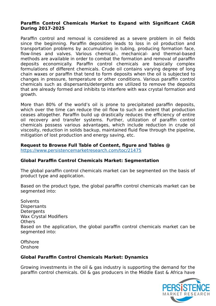 paraffin control chemicals market to expand with n.