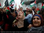 palestinian women shout slogans during a protest