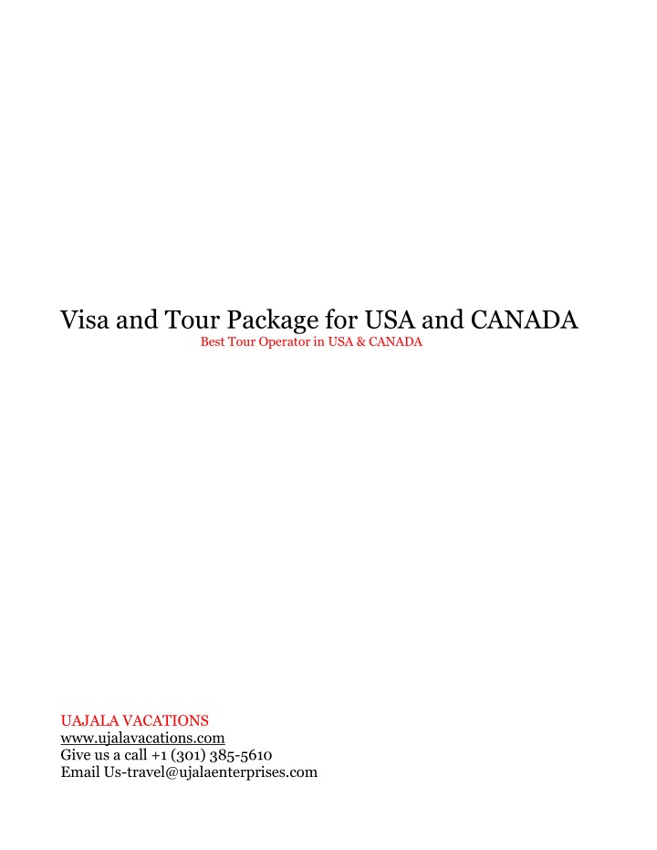 visa and tour package for usa and canada best n.