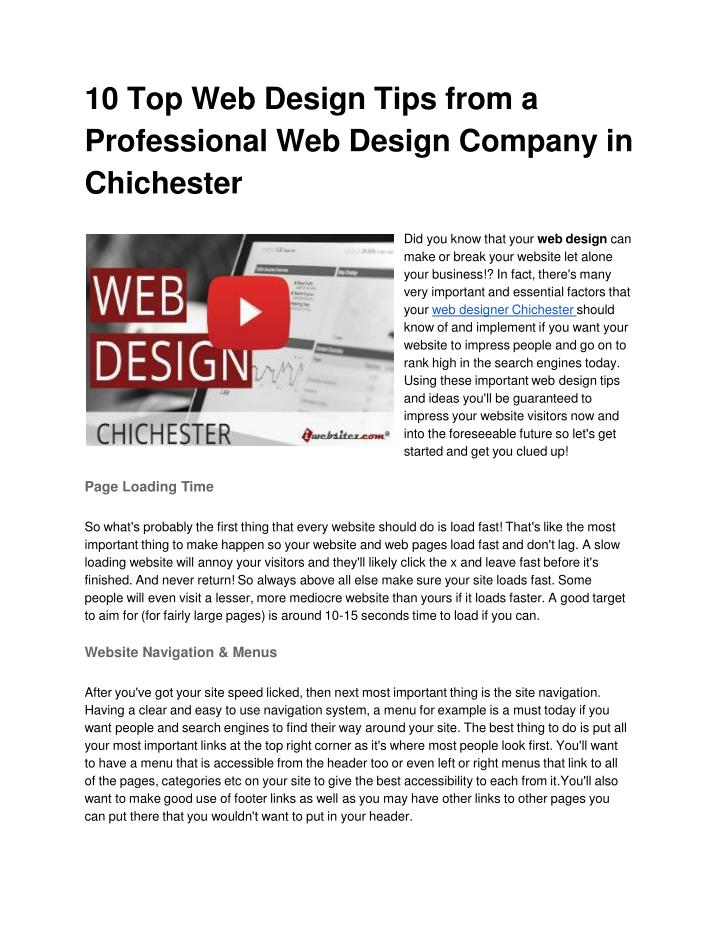 10 top web design tips from a professional web design company in chichester n.