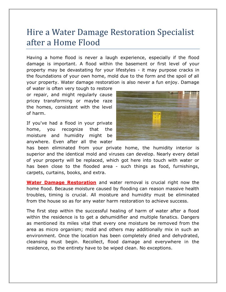 hire a water damage restoration specialist after n.
