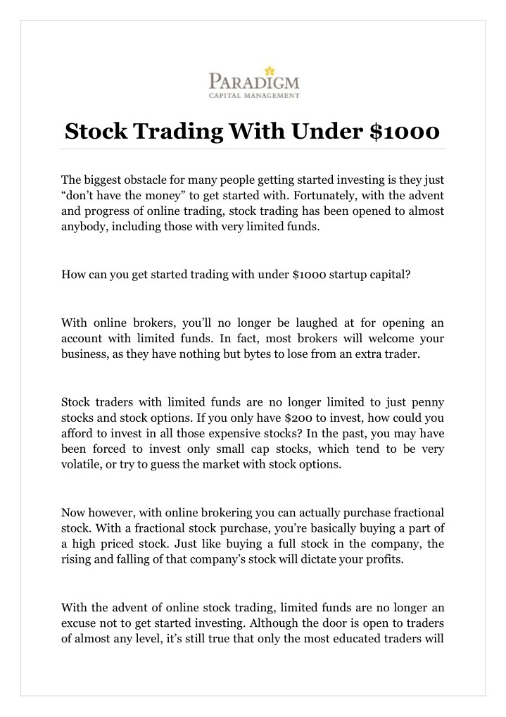 stock trading with under 1000 n.