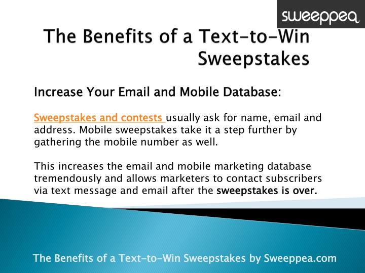 Text 2 win sweepstakes