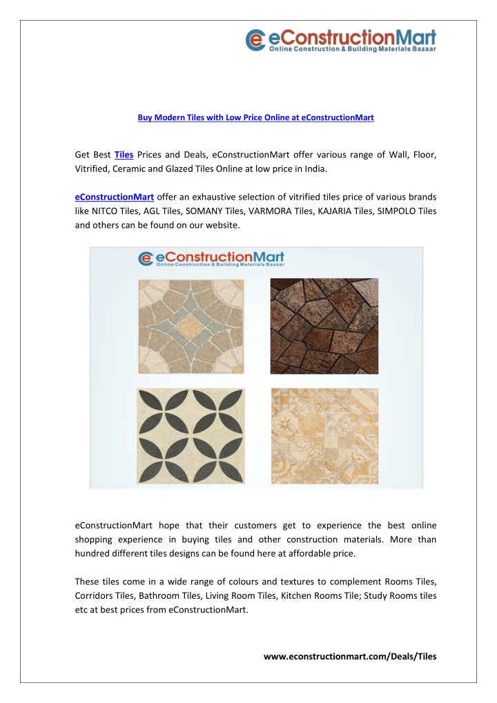 Ppt Buy Modern Tiles With Low Price Online At