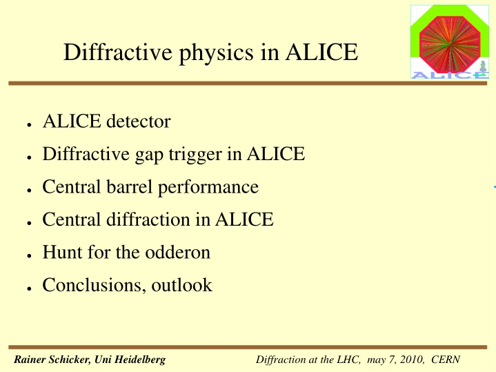 diffractive physics in alice n.