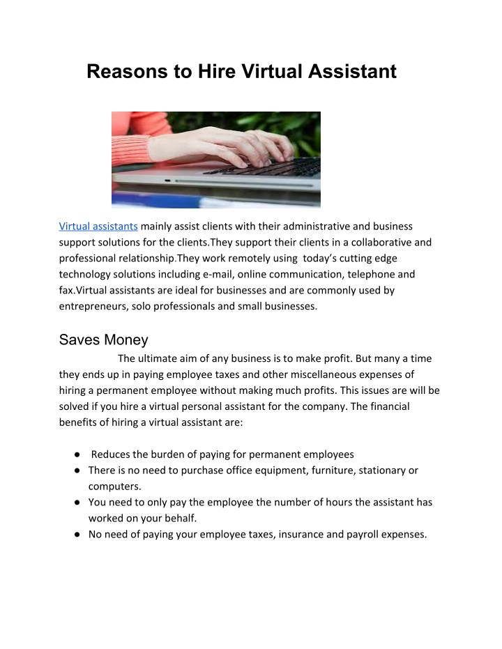 reasons to hire virtual assistant n.