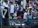 gael monfils of france argues with the umpire