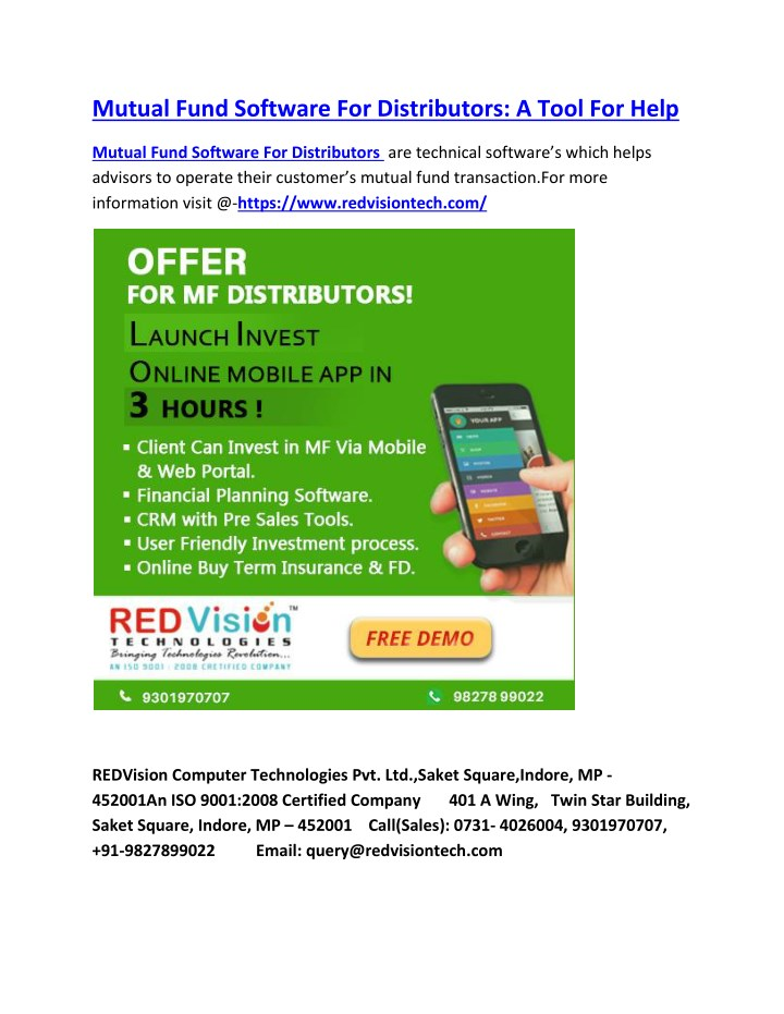 mutual fund software for distributors a tool n.