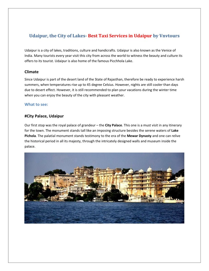udaipur the city of lakes best taxi services n.
