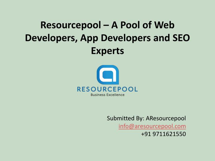 resourcepool a p ool of web developers app developers and seo experts n.