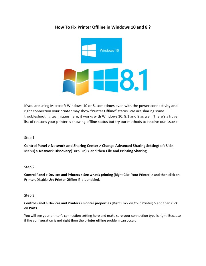 PPT - How to fix printer offline in windows 10 and 8
