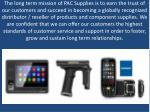 the long term mission of pac supplies is to earn