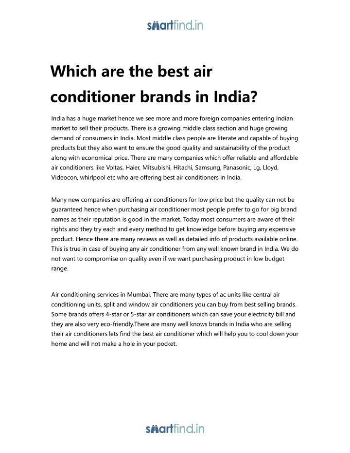 which are the best air conditioner brands in india n.