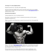 advantages of creatine supplementation