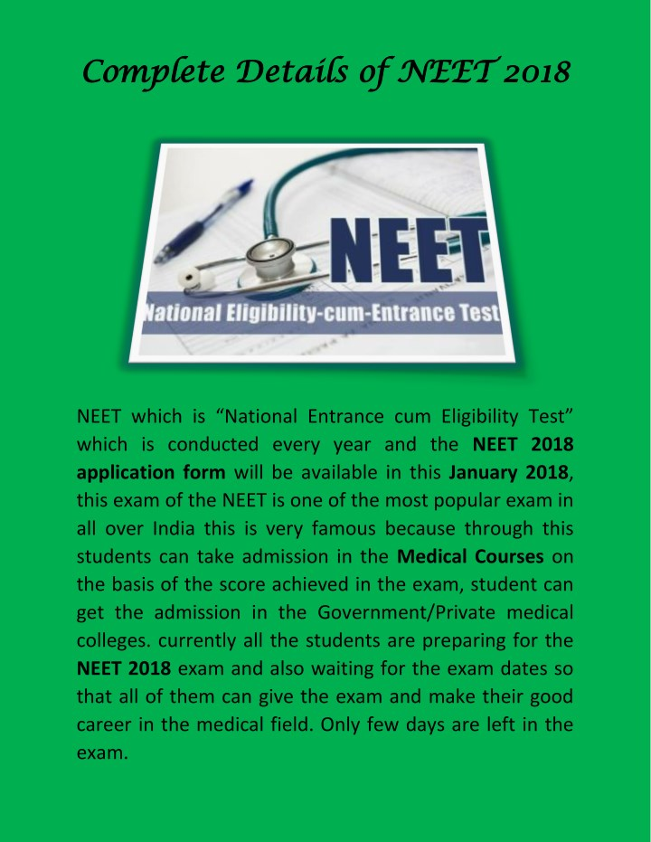 complete details of neet 2018 complete details n.