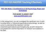 psy 435 master teaching effectively