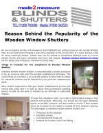 reason behind the popularity of the wooden window