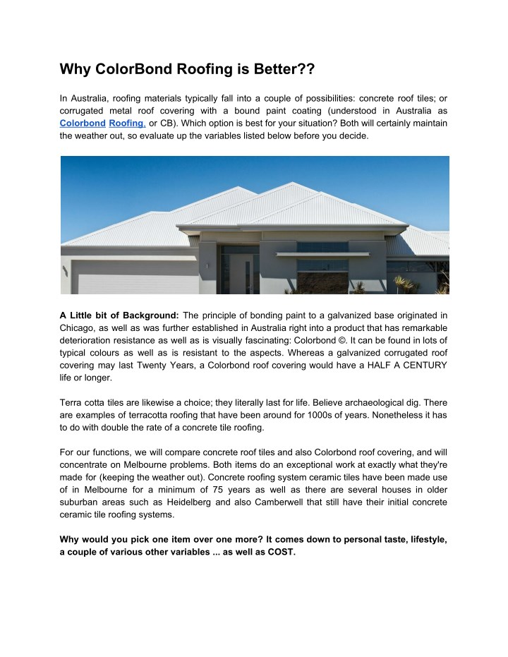 why colorbond roofing is better in australia n.