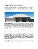 why colorbond roofing is better in australia