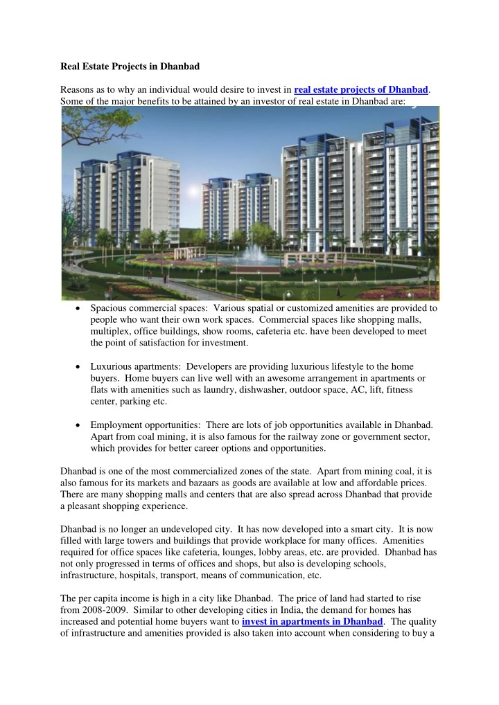 real estate projects in dhanbad reasons n.
