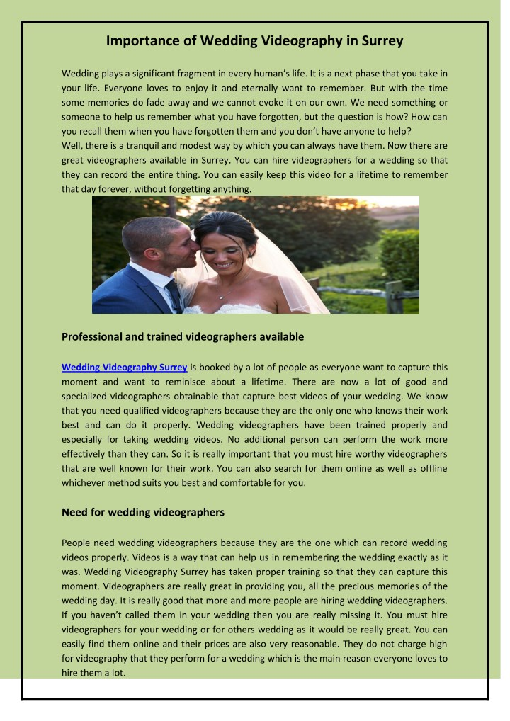 importance of wedding videography in surrey n.