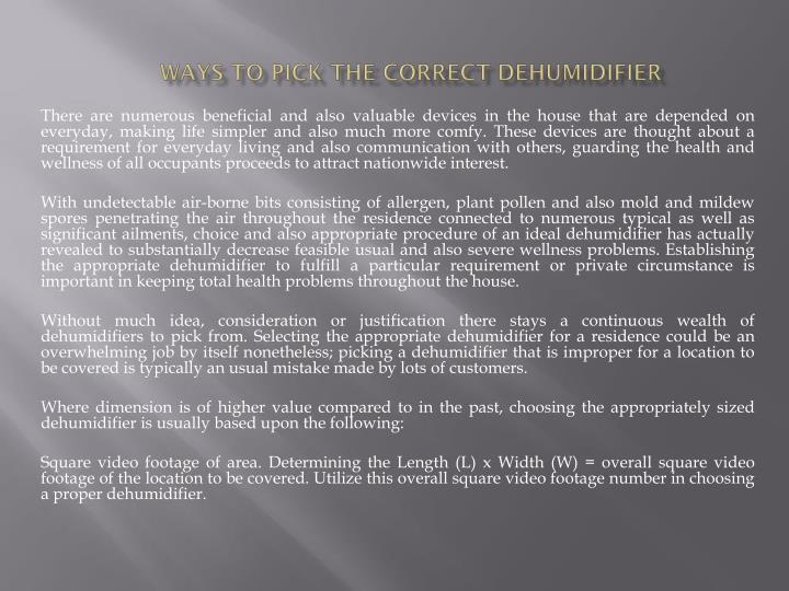 ways to pick the correct dehumidifier n.