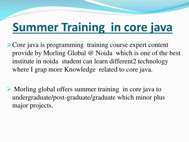 summer training in core java n.
