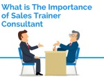 what is the importance of sales trainer consultant