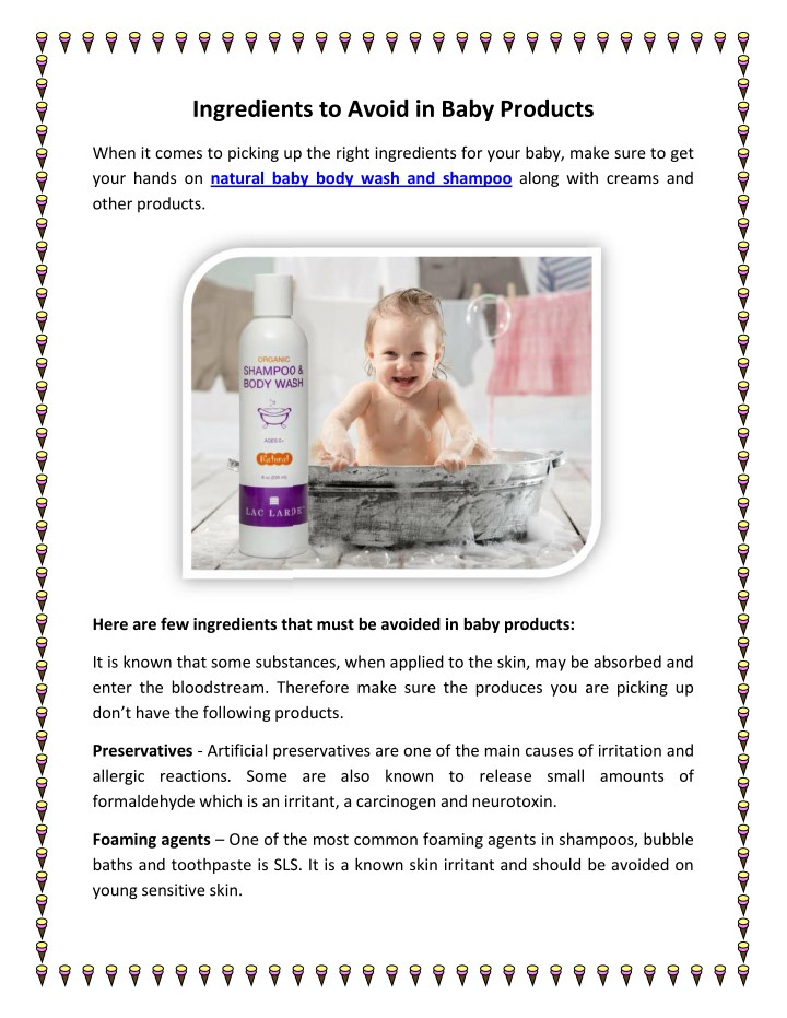 ingredients to avoid in baby products ingredients n.
