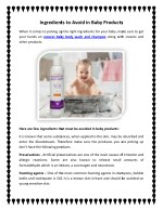 ingredients to avoid in baby products ingredients