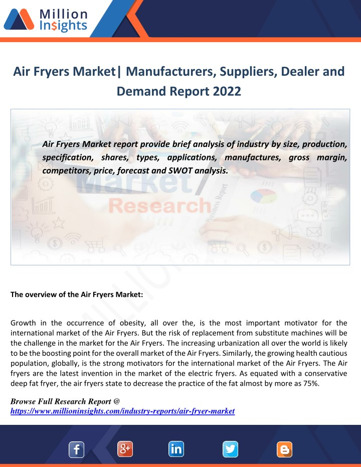 air fryers market manufacturers suppliers dealer n.