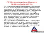 step 3 business innovation and investment