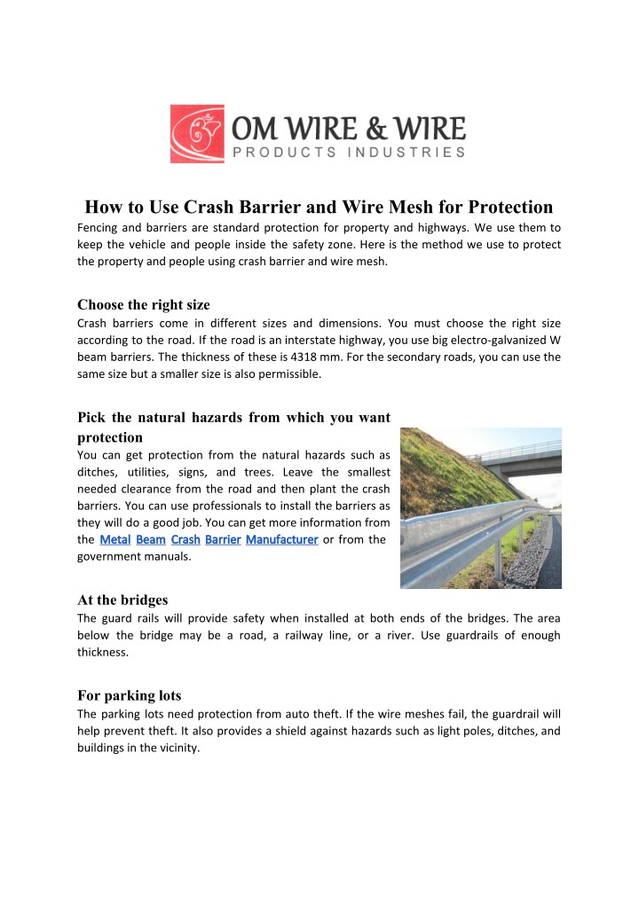 how to use crash barrier and wire mesh n.