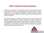 s tep 2 investor visa australia