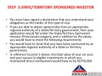 step 5 state territory sponsored investor