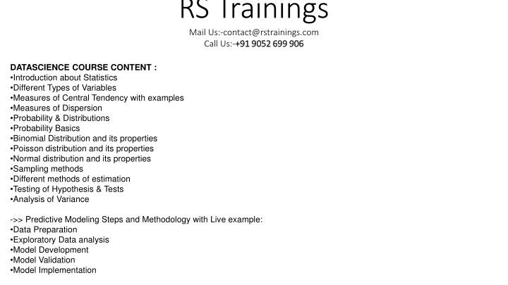 rs trainings mail us contact@rstrainings com call us 91 9052 699 906 n.