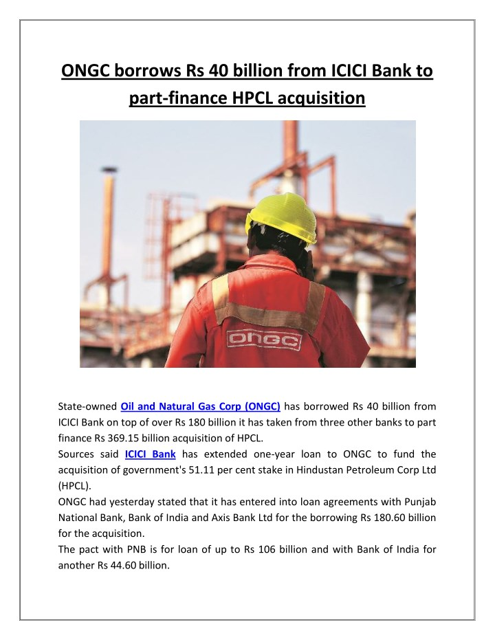 ongc borrows rs 40 billion from icici bank n.