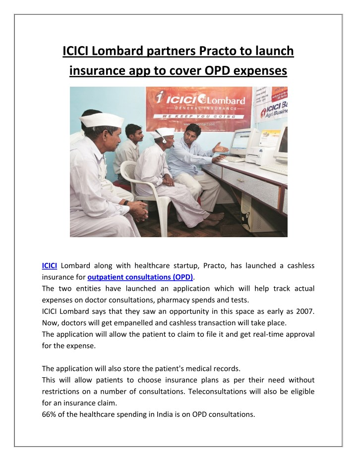 icici lombard partners practo to launch insurance n.