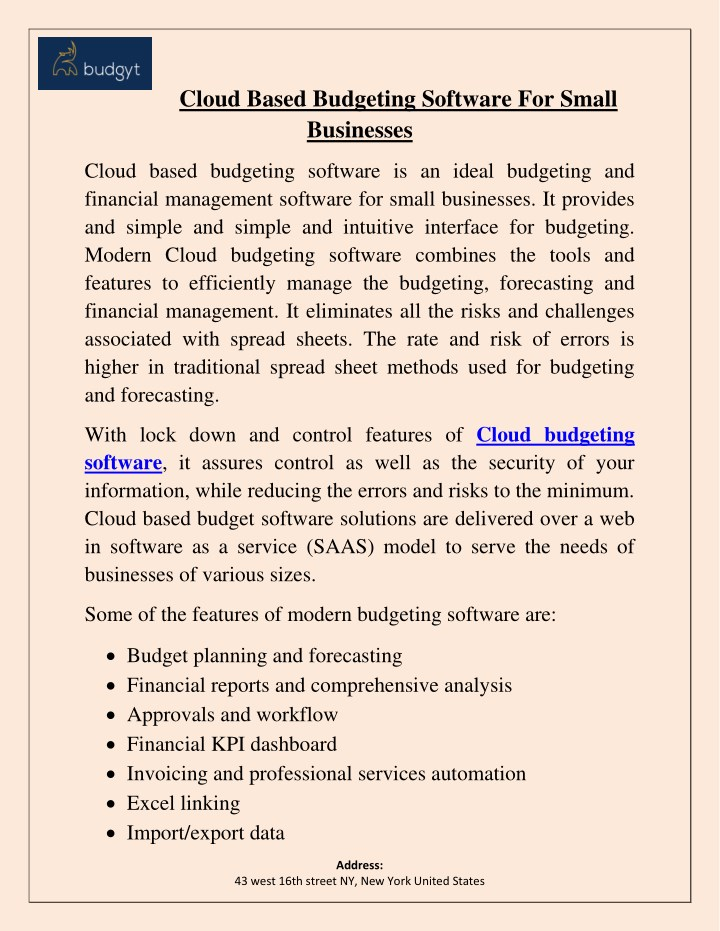 cloud based budgeting software for small n.