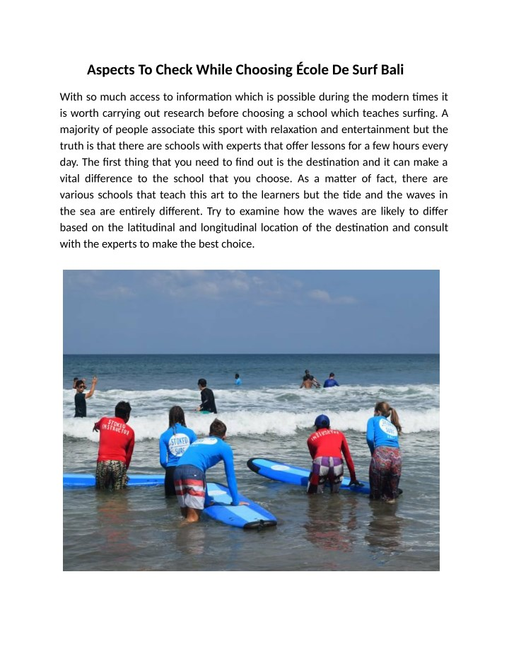 aspects to check while choosing cole de surf bali n.