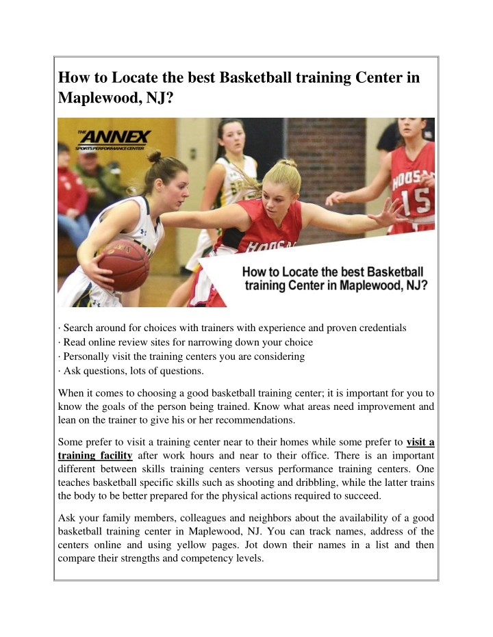how to locate the best basketball training center n.