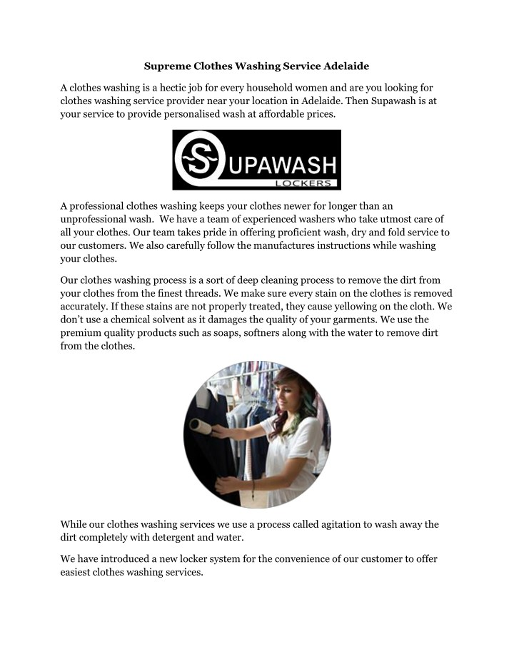 supreme clothes washing service adelaide n.