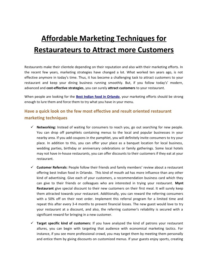affordable marketing techniques for restaurateurs n.