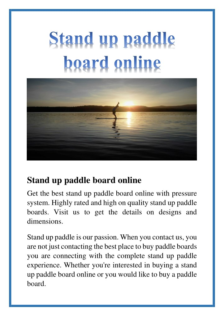 stand up paddle board online n.