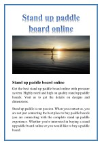 stand up paddle board online