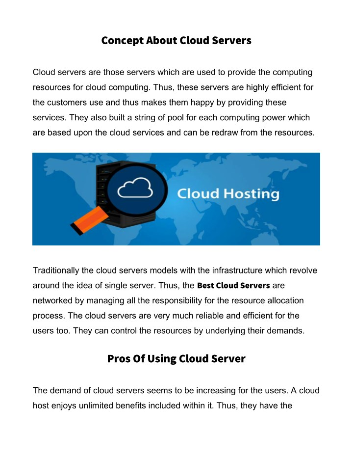 concept about cloud servers n.